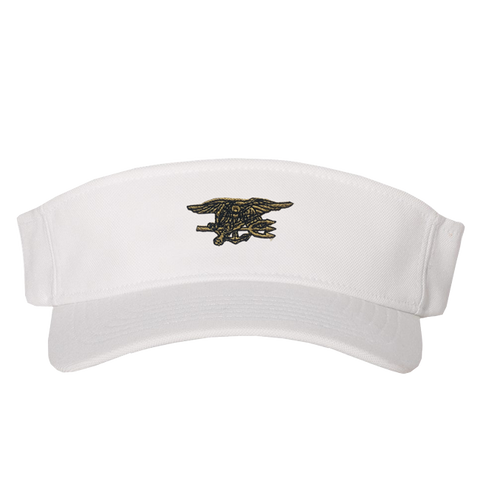 White Flexfit Visor with Gold Trident