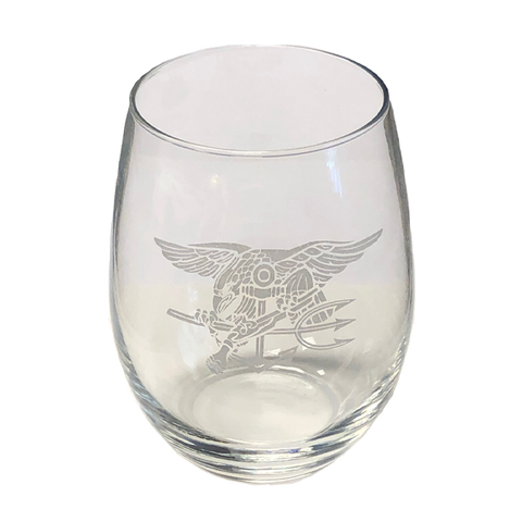 Frosted Trident Stemless Wine Glass