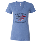 Ladies Trident Home of the Free Vneck Shirt