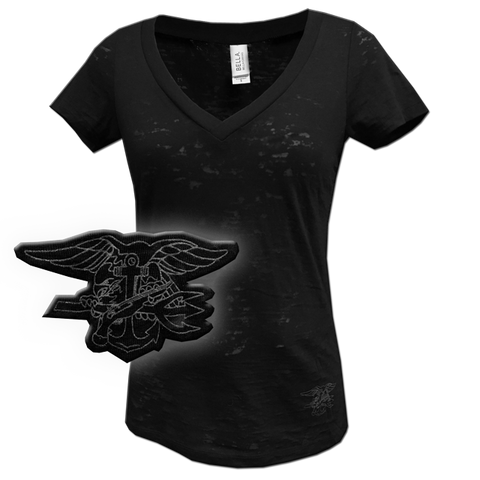 Ladies Trident Black V-neck Tee