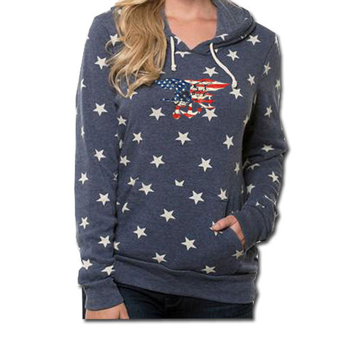 Ladies Trident Stars Hooded Pullover