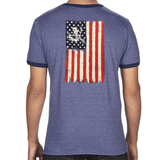 Red- White - Blue Bone Frog Shirt with Strength and Honor