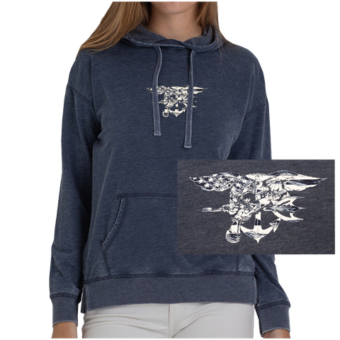 Navy Classic Hoodie with Navy/White Flag Trident
