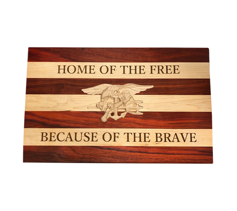Home of the Free Trident Wooden Carving