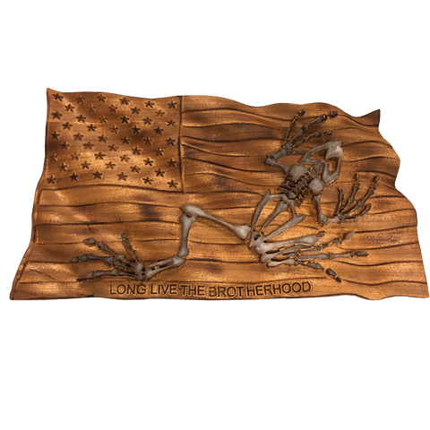 Long Live the Brotherhood Flag 3D Wood Carving