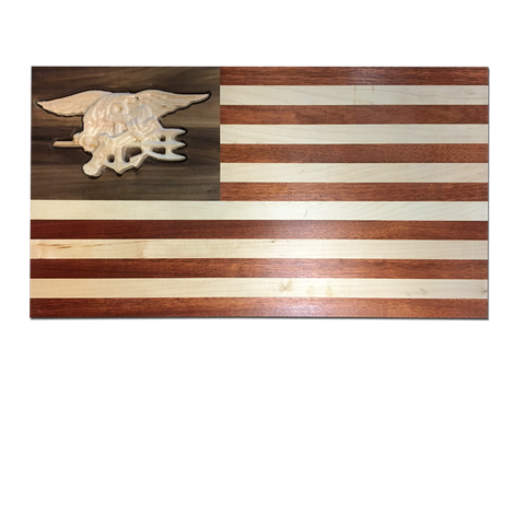 American Flag with Trident in Natural Wood - UDT-SEAL Store