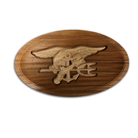 Wood Trident in Oval Dish - UDT-SEAL Store