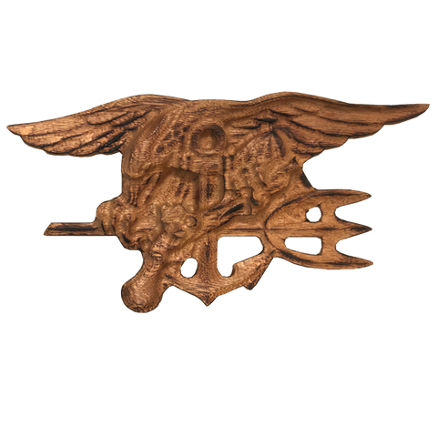 "Torched Sapele 9"" Trident Wood Carving"