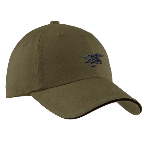 Olive Green Sandwich Hat with Black Trident