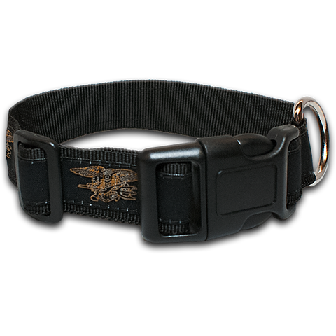 Dog Collar Black with Gold Trident - UDT-SEAL Store