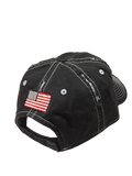 Trident Navy Blue Distressed Cap with American Flag