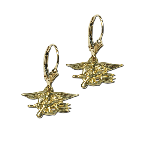 14K Yellow Gold Trident French Dangle Earrings - UDT-SEAL Store