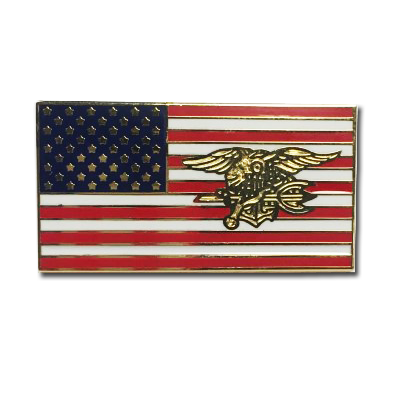 American Flag Trident Lapel Pin