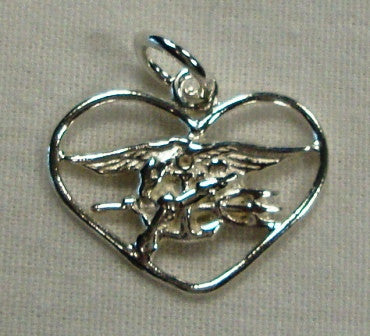 Sterling Silver Heart Embracing Trident - UDT-SEAL Store
