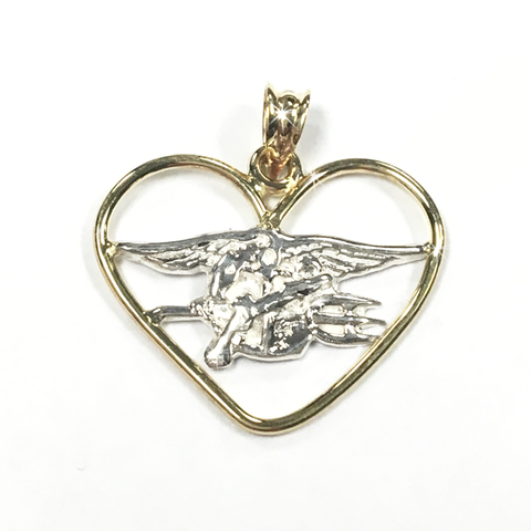 14 K Yellow Heart Embracing Trident - UDT-SEAL Store  - 2