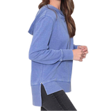 Ladies Cobalt Wide Crossover Hoodie with Trident