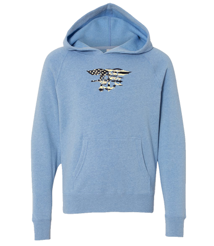 Youth Light Blue Trident/Flag Hooded Sweatshirt