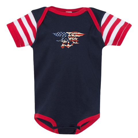 Rabbit Skins Trident Onesie in Red, White & Blue