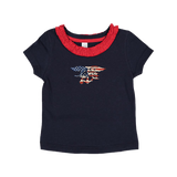 Toddler Girls Patriotic Trident Ruffle Neck T-shirt