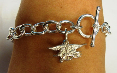 Sterling Silver Charm Bracelet with Trident - UDT-SEAL Store  - 3