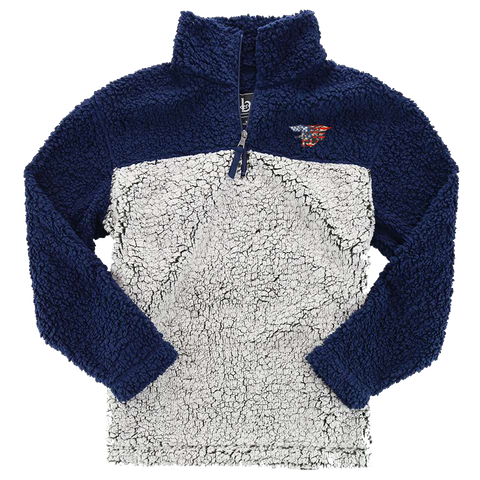 Red-White-Blue Trident Patch Sherpa Quarter Zip Pullover