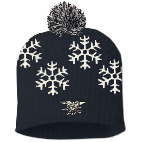 Custom SEAL Snowflake Knit Beanie with Pom