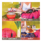 The Wonderbag works in 4 easy steps: Boil, Bag, Slow Cook & Share