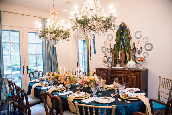 29cea016a17 Laura Nell's beautiful table setting elements include Arte Italica Medici Wine  Glasses; Herend Queen Victoria Dinner Plates; Anna Weatherley Harvest Gold  ...