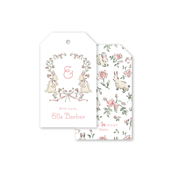 Rose Bunnies Crest Gift Tags