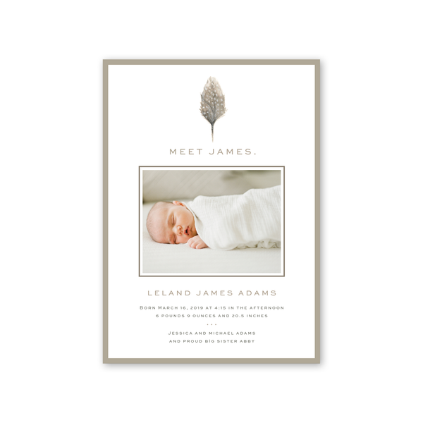 Feather Birth Announcement