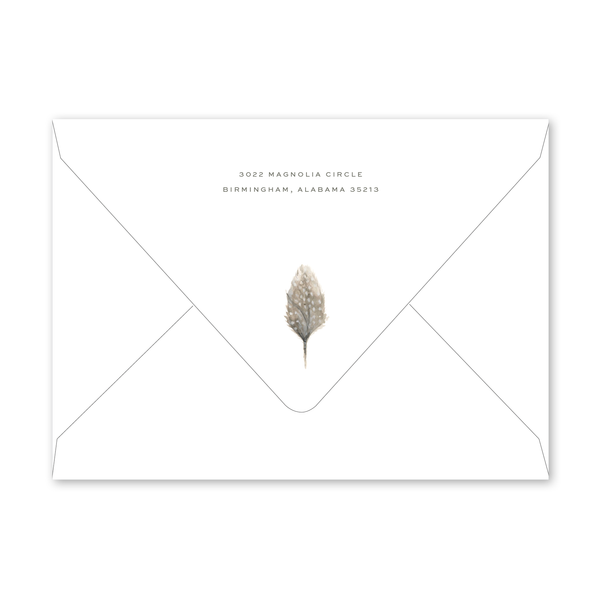 Feather Birth Announcement Envelopes