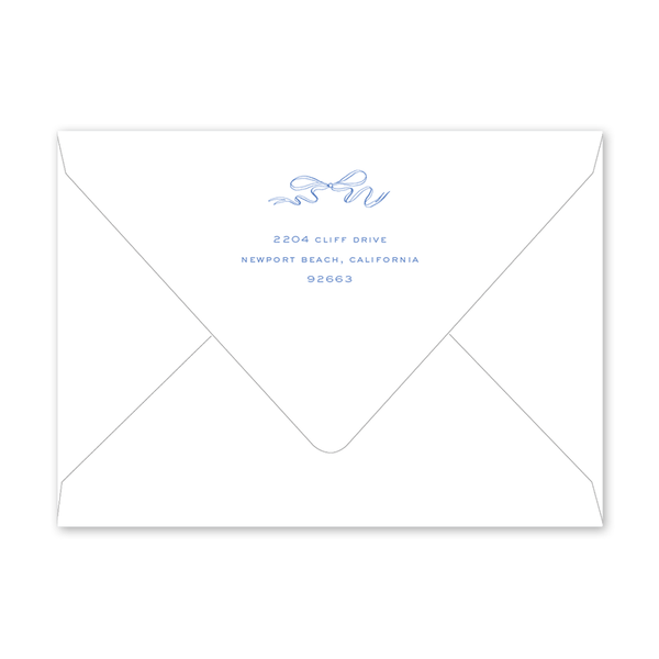 Blue & White Ribbon Crest II Graduation Envelopes