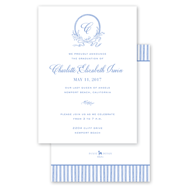 Blue & White Ribbon Crest II Graduation