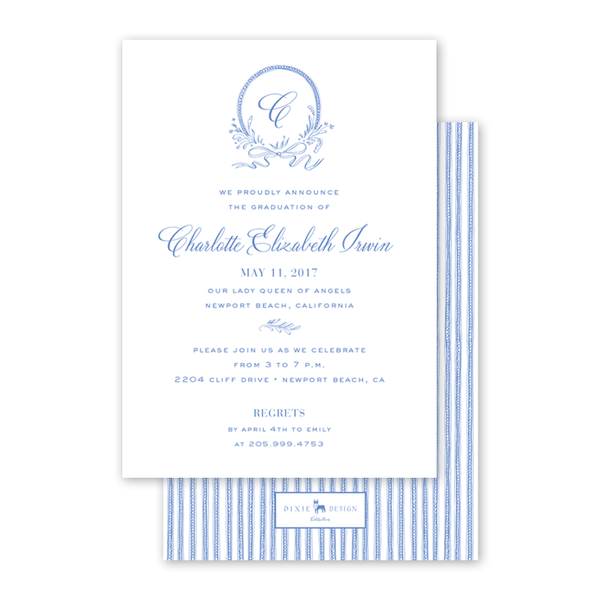 Blue & White Ribbon Crest Graduation