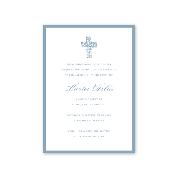 Floral Cross Blue Baptism Invitation