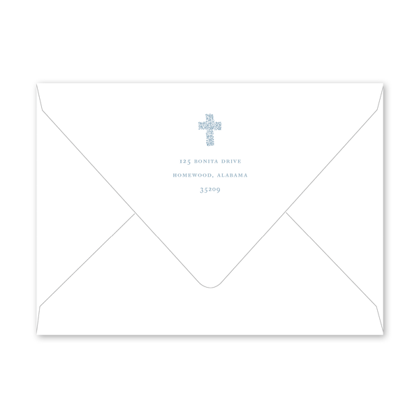 Floral Cross Blue Baptism Envelopes