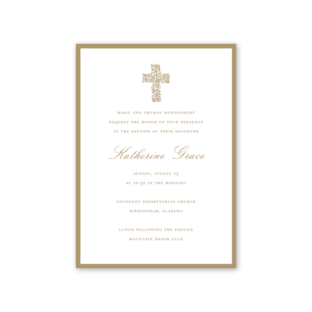 Floral Cross Gold Baptism Invitation
