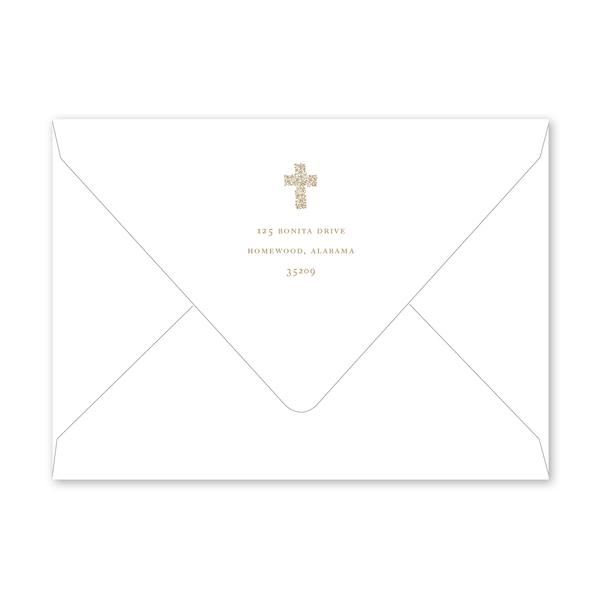 Floral Cross Gold Baptism Envelopes