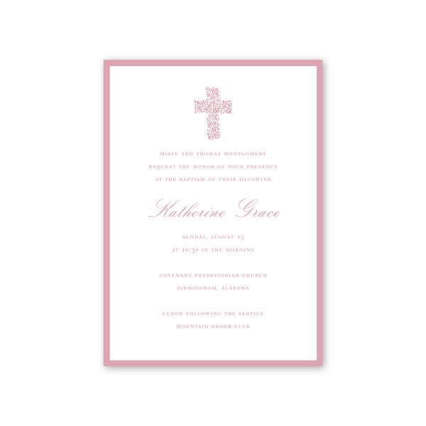 Floral Cross Pink Baptism Invitation