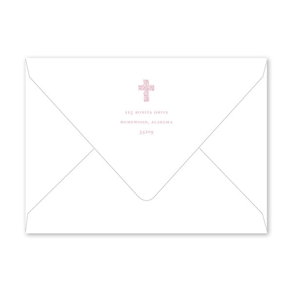 Floral Cross Pink Baptism Envelopes