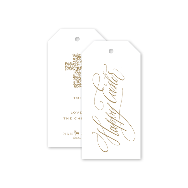 Gold Cross Easter Gift Tags