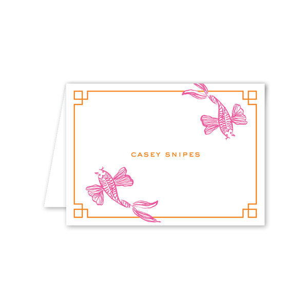 Koi Fish Pink Folded Notecard