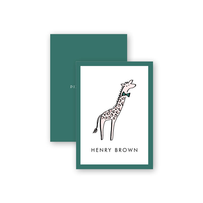 Wild Animals Green Giraffe Calling Card