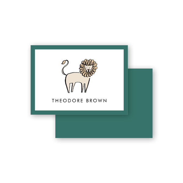 Wild Animals Green Lion Calling Card