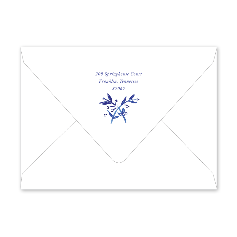 Blue Toile Graduation Envelopes