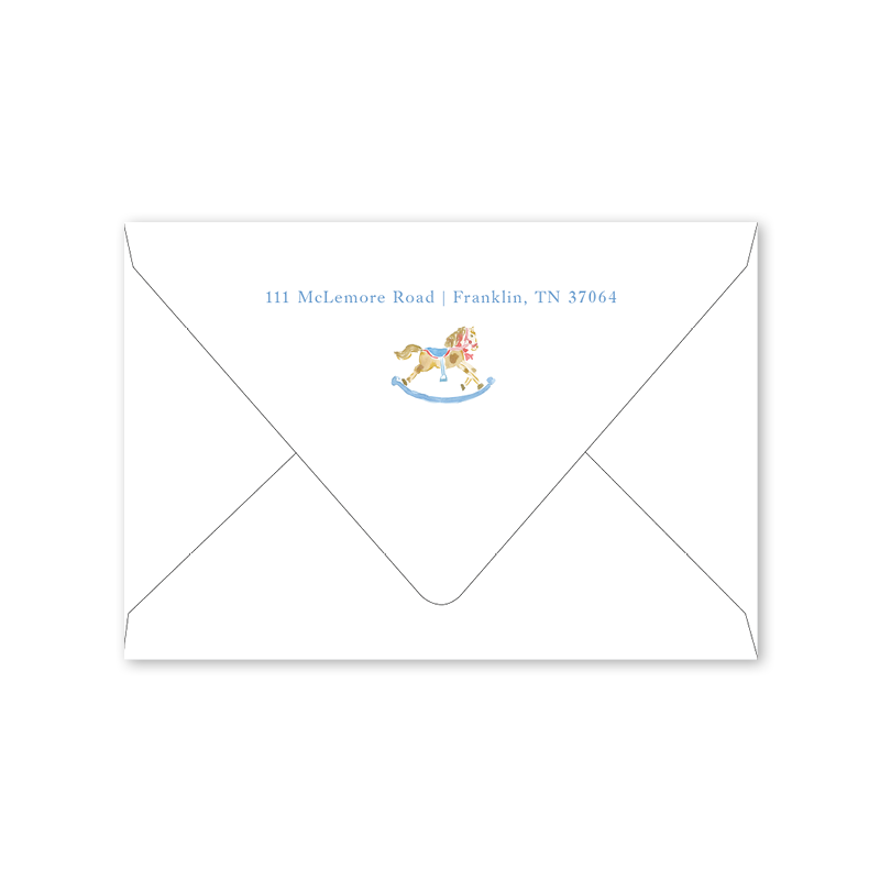 Rocking Horse Blue Notecard Envelopes