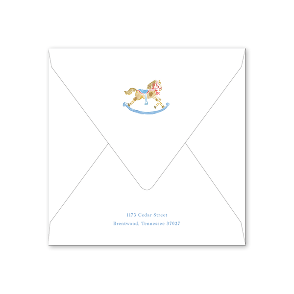 Rocking Horse Blue Baby Shower Envelopes