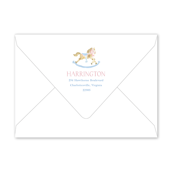 Rocking Horse Pink Birth Announcement Envelopes
