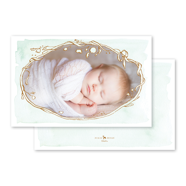 Copper Wreath Green Birth Announcement