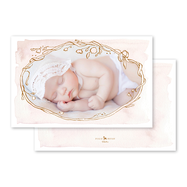 Copper Wreath Pink Birth Announcement
